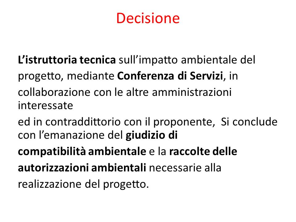 Decisione Listruttoria tecnica sullimpatto ambientale del progetto, mediante Conferenza di Servizi, in collaborazione con le altre amministrazioni int