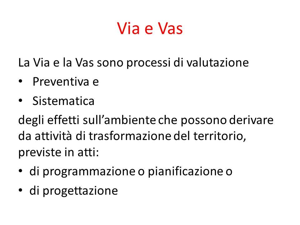 Via e Vas La Via e la Vas sono processi di valutazione Preventiva e Sistematica degli effetti sullambiente che possono derivare da attività di trasfor