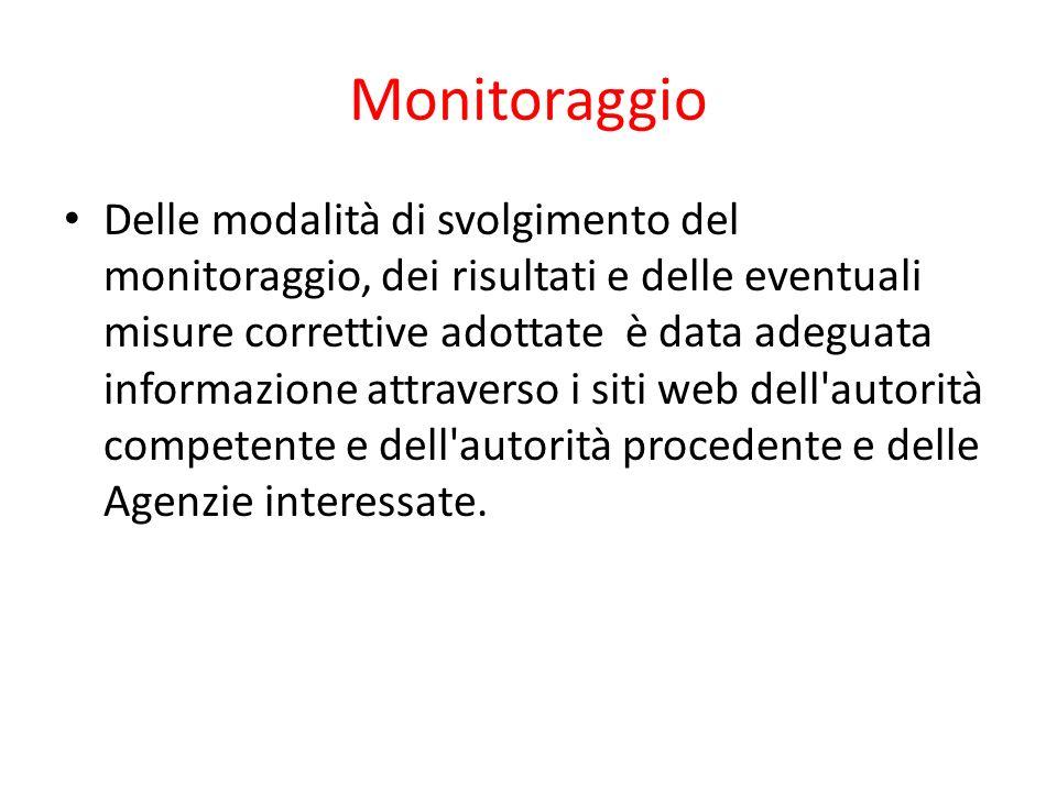 Monitoraggio Delle modalità di svolgimento del monitoraggio, dei risultati e delle eventuali misure correttive adottate è data adeguata informazione a