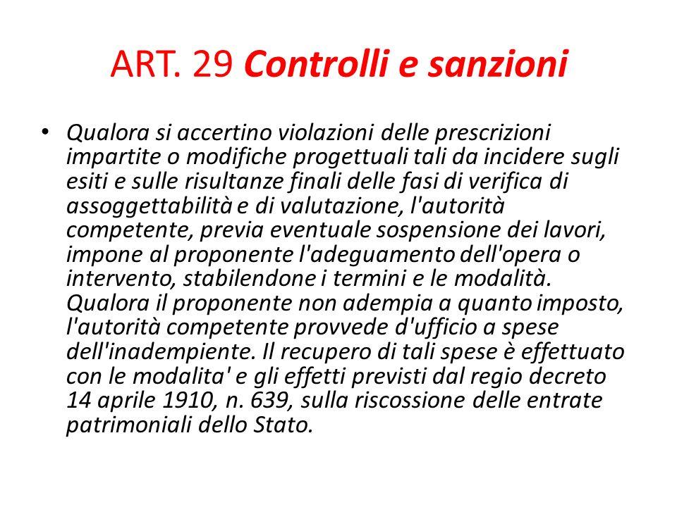 ART. 29 Controlli e sanzioni Qualora si accertino violazioni delle prescrizioni impartite o modifiche progettuali tali da incidere sugli esiti e sulle