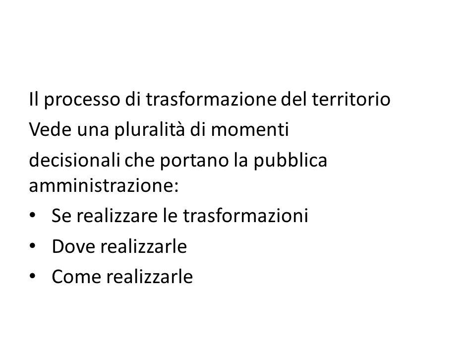 Il processo di trasformazione del territorio Vede una pluralità di momenti decisionali che portano la pubblica amministrazione: Se realizzare le trasf