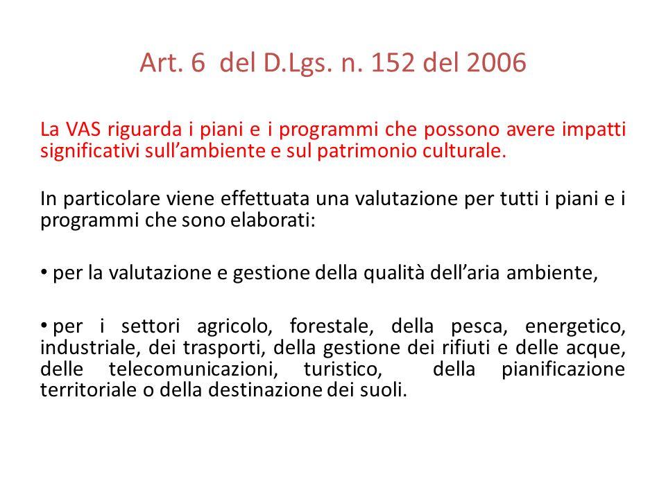 Art. 6 del D.Lgs. n. 152 del 2006 La VAS riguarda i piani e i programmi che possono avere impatti significativi sullambiente e sul patrimonio cultural