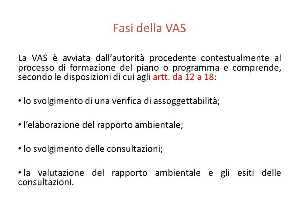 Fasi della VAS La VAS è avviata dallautorità procedente contestualmente al processo di formazione del piano o programma e comprende, secondo le dispos