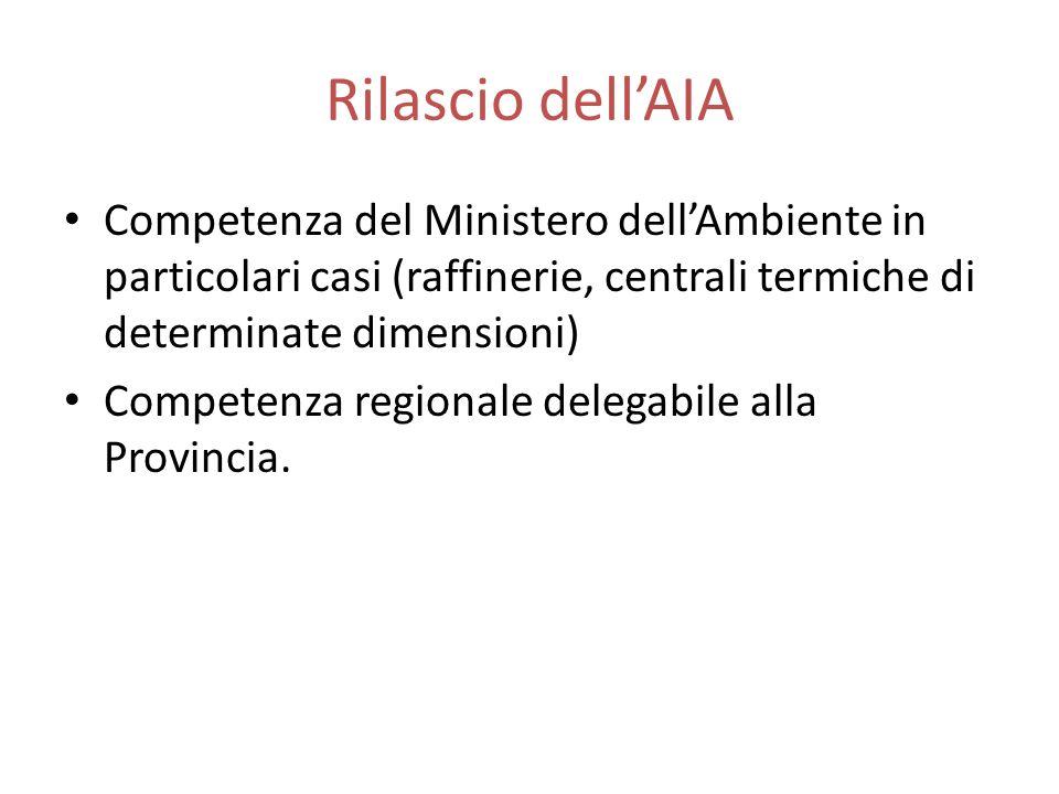 Rilascio dellAIA Competenza del Ministero dellAmbiente in particolari casi (raffinerie, centrali termiche di determinate dimensioni) Competenza region