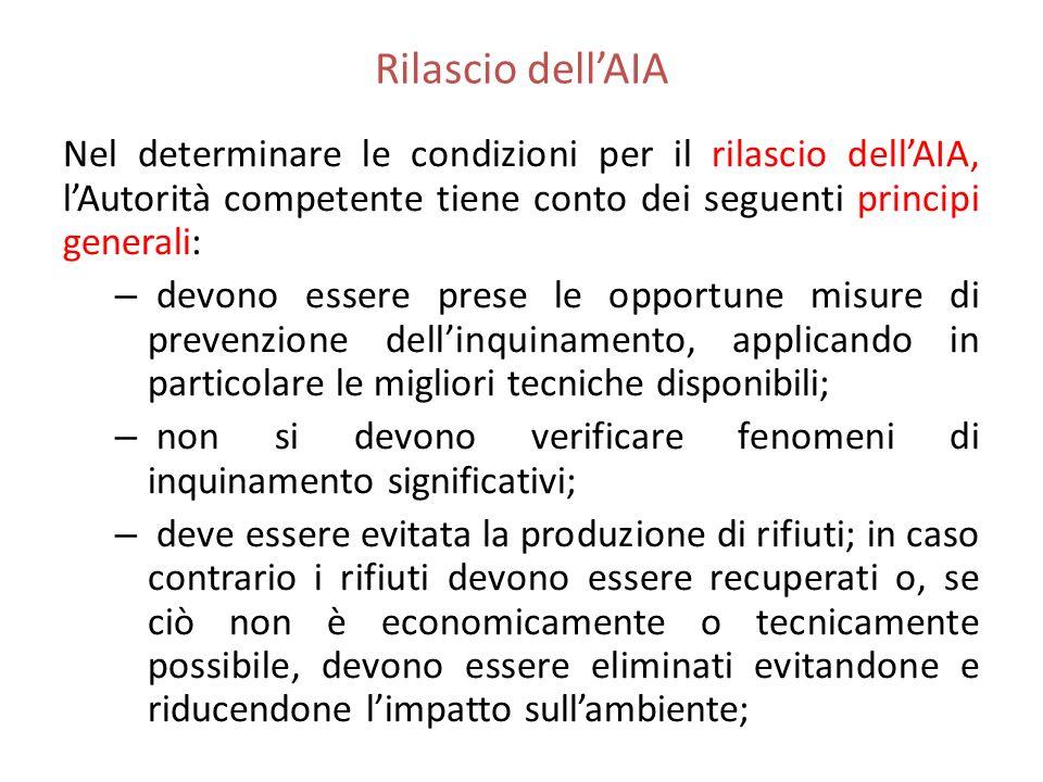 Rilascio dellAIA Nel determinare le condizioni per il rilascio dellAIA, lAutorità competente tiene conto dei seguenti principi generali: – devono esse