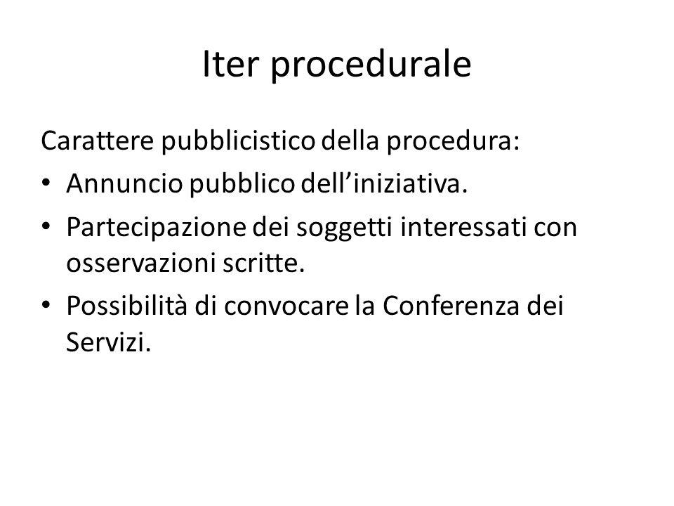 Iter procedurale Carattere pubblicistico della procedura: Annuncio pubblico delliniziativa. Partecipazione dei soggetti interessati con osservazioni s