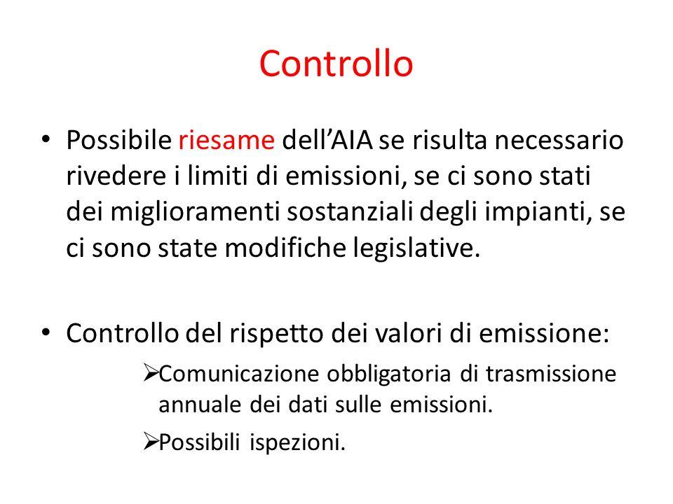 Controllo Possibile riesame dellAIA se risulta necessario rivedere i limiti di emissioni, se ci sono stati dei miglioramenti sostanziali degli impiant