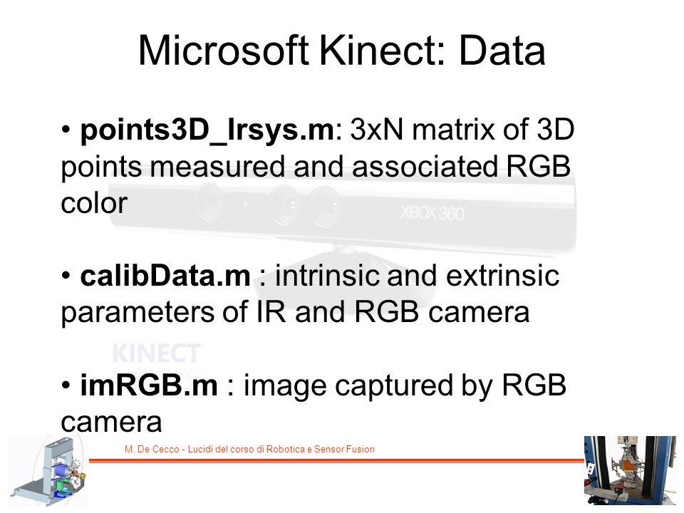 M. De Cecco - Lucidi del corso di Robotica e Sensor Fusion Microsoft Kinect: Data points3D_Irsys.m: 3xN matrix of 3D points measured and associated RG