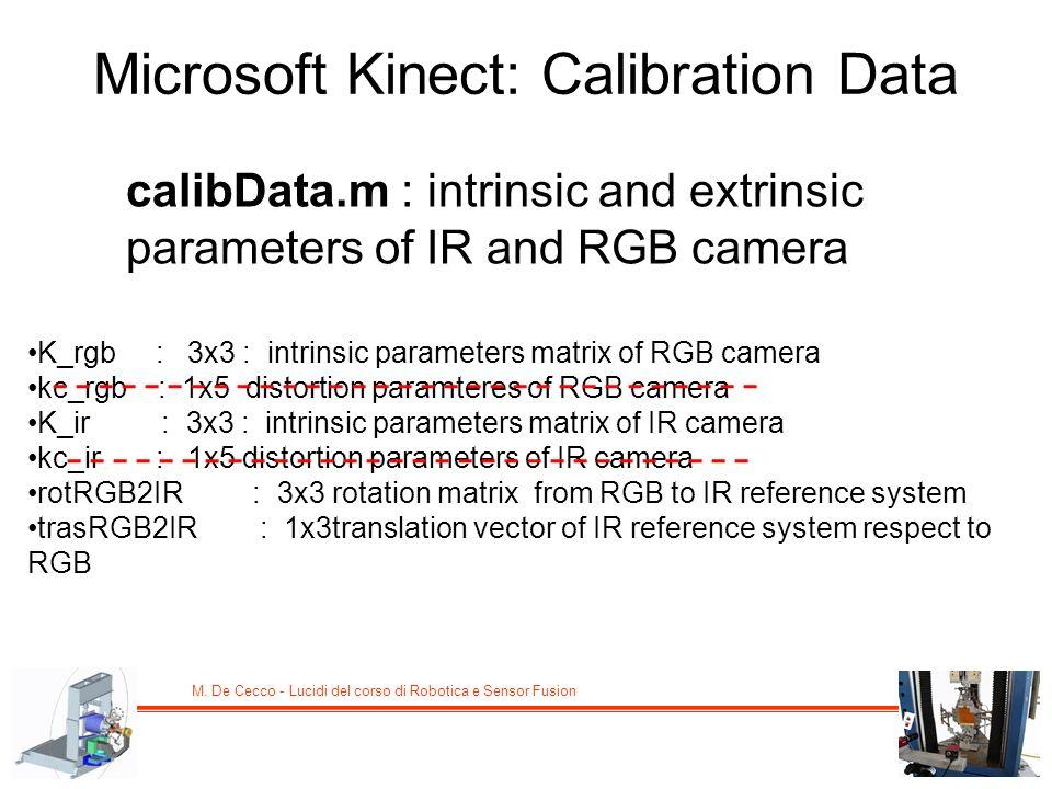 M. De Cecco - Lucidi del corso di Robotica e Sensor Fusion Microsoft Kinect: Calibration Data calibData.m : intrinsic and extrinsic parameters of IR a