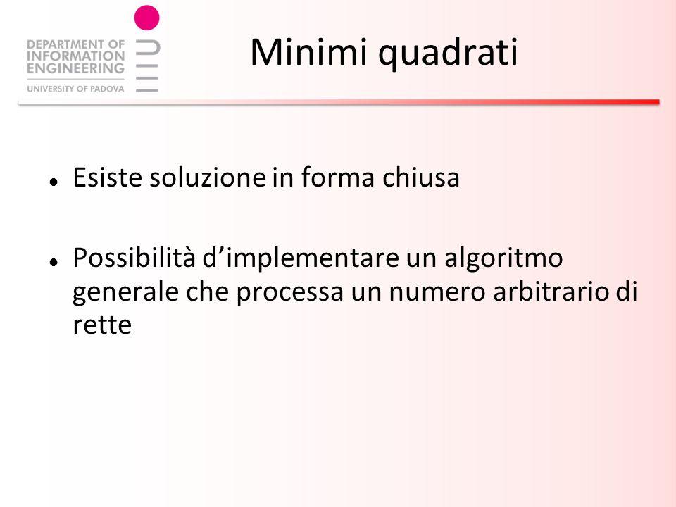 Esiste soluzione in forma chiusa Possibilità dimplementare un algoritmo generale che processa un numero arbitrario di rette Minimi quadrati