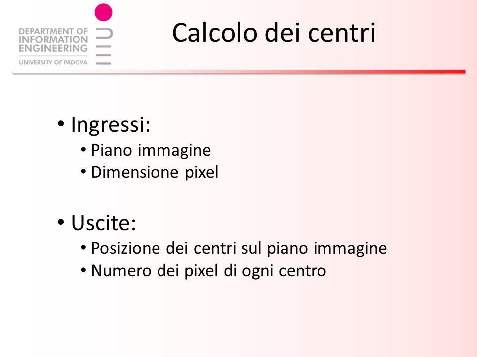 Calcolo dei centri Ingressi: Piano immagine Dimensione pixel Uscite: Posizione dei centri sul piano immagine Numero dei pixel di ogni centro
