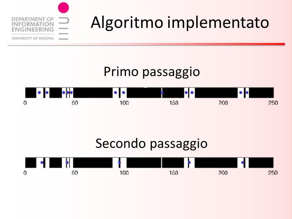 Algoritmo implementato Primo passaggio Secondo passaggio