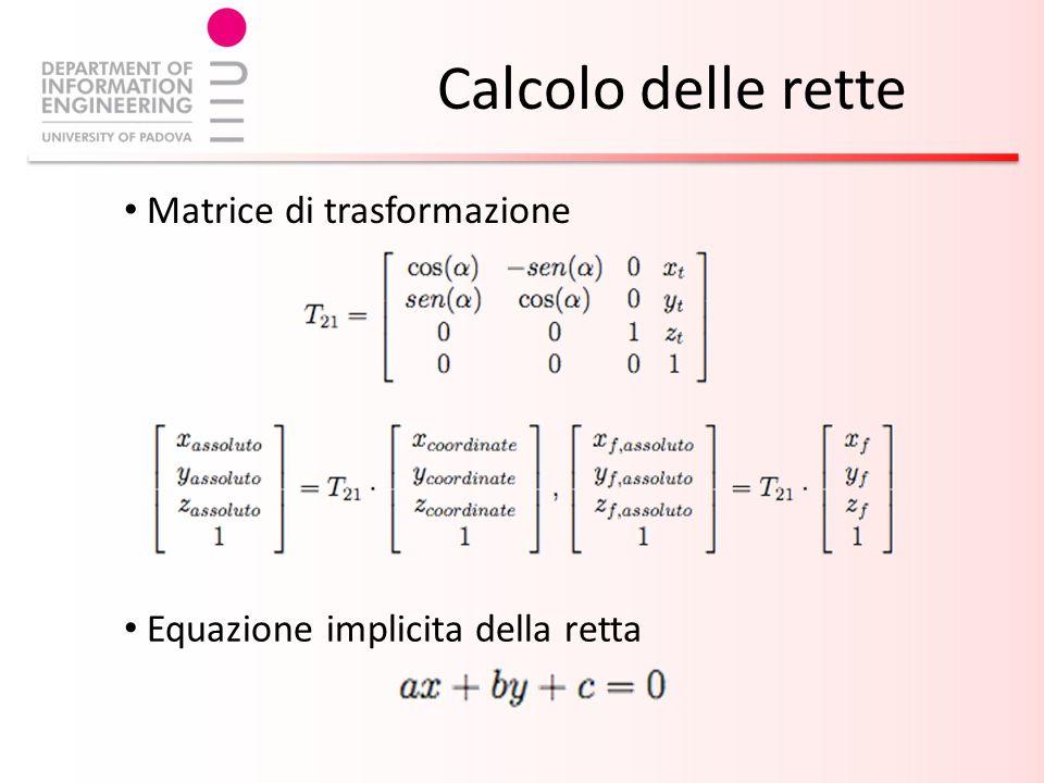 Calcolo delle rette Equazione implicita della retta Matrice di trasformazione