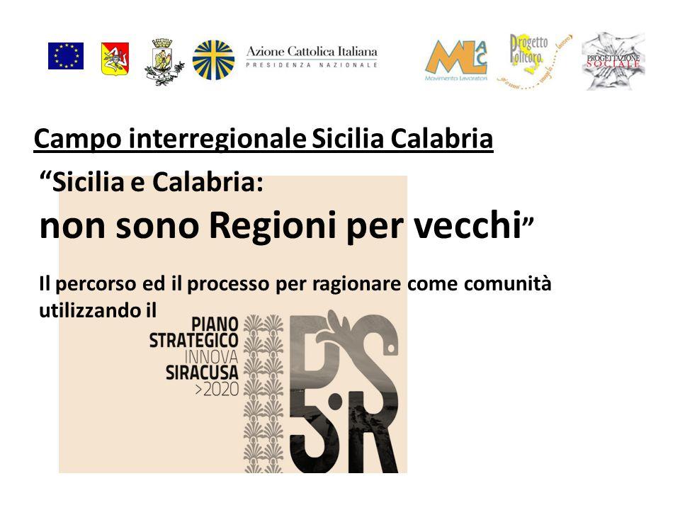 Campo interregionale Sicilia Calabria Sicilia e Calabria: non sono Regioni per vecchi Il percorso ed il processo per ragionare come comunità utilizzan