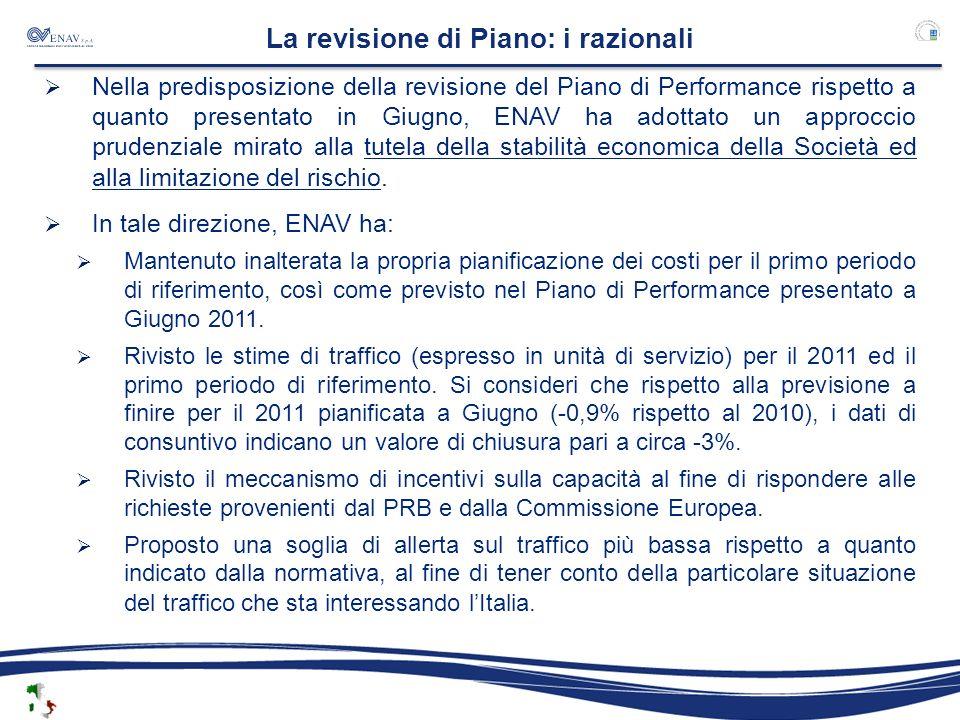 La revisione di Piano: i razionali Nella predisposizione della revisione del Piano di Performance rispetto a quanto presentato in Giugno, ENAV ha adot
