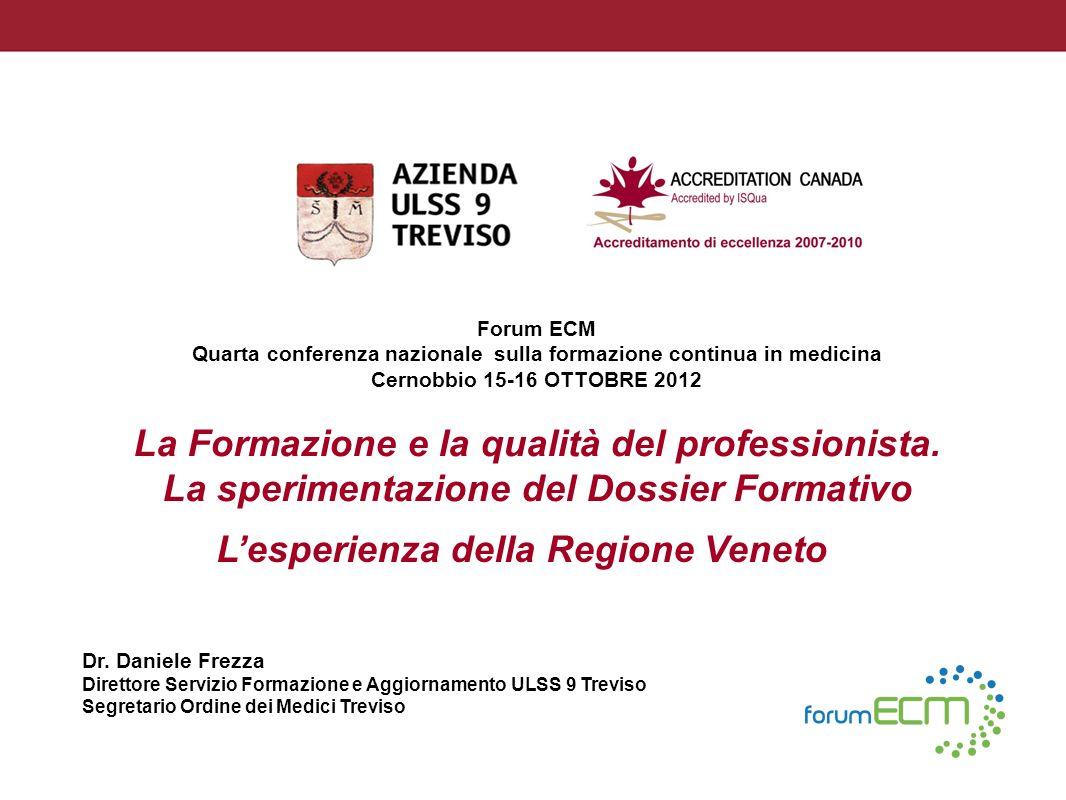 Forum ECM Quarta conferenza nazionale sulla formazione continua in medicina Cernobbio 15-16 OTTOBRE 2012 Lesperienza della Regione Veneto Dr. Daniele