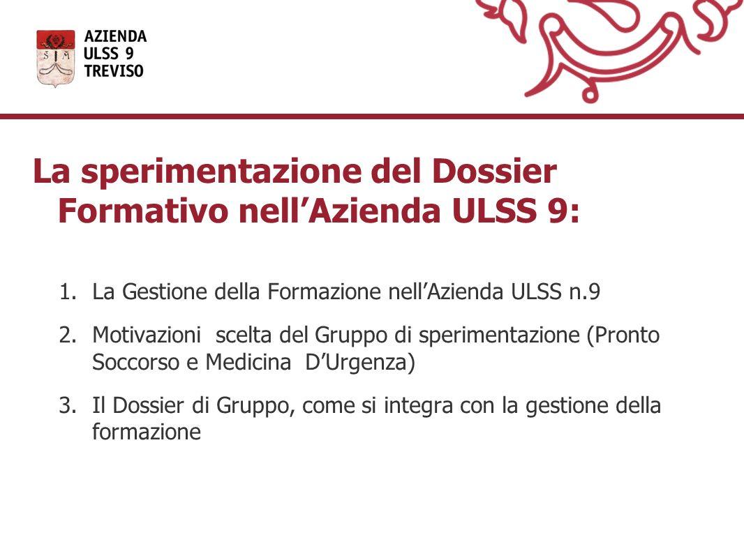La sperimentazione del Dossier Formativo nellAzienda ULSS 9: 1.La Gestione della Formazione nellAzienda ULSS n.9 2.Motivazioni scelta del Gruppo di sp