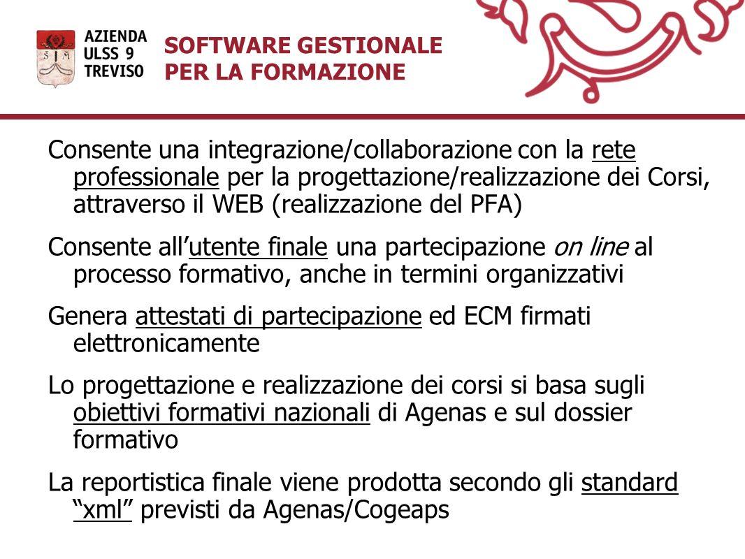 SOFTWARE GESTIONALE PER LA FORMAZIONE Consente una integrazione/collaborazione con la rete professionale per la progettazione/realizzazione dei Corsi,