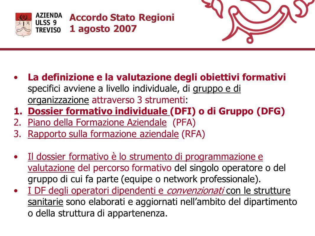 Accordo Stato Regioni 1 agosto 2007 La definizione e la valutazione degli obiettivi formativi specifici avviene a livello individuale, di gruppo e di