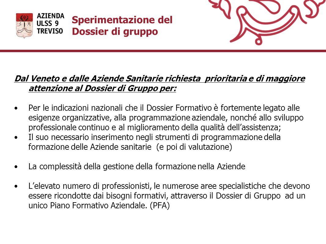 Sperimentazione del Dossier di gruppo Dal Veneto e dalle Aziende Sanitarie richiesta prioritaria e di maggiore attenzione al Dossier di Gruppo per: Pe