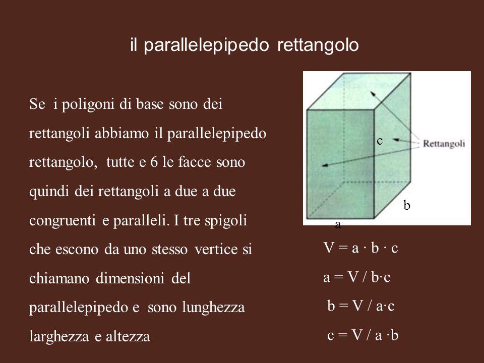 il parallelepipedo rettangolo Se i poligoni di base sono dei rettangoli abbiamo il parallelepipedo rettangolo, tutte e 6 le facce sono quindi dei rett