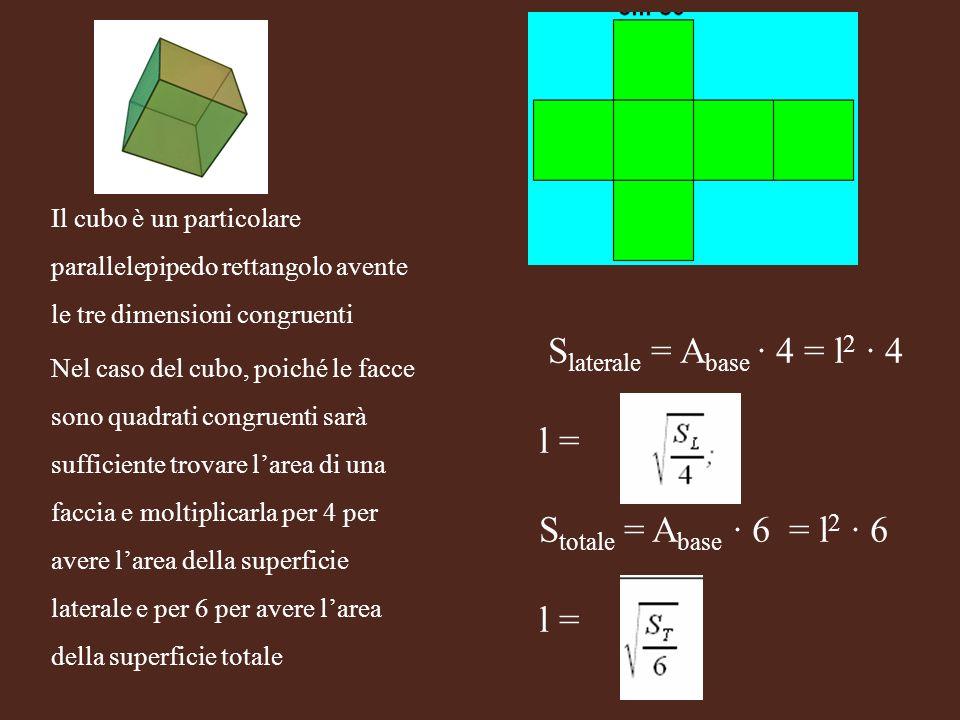 S laterale = A base 4 = l 2 4 l = S totale = A base 6 = l 2 6 l = Il cubo è un particolare parallelepipedo rettangolo avente le tre dimensioni congrue