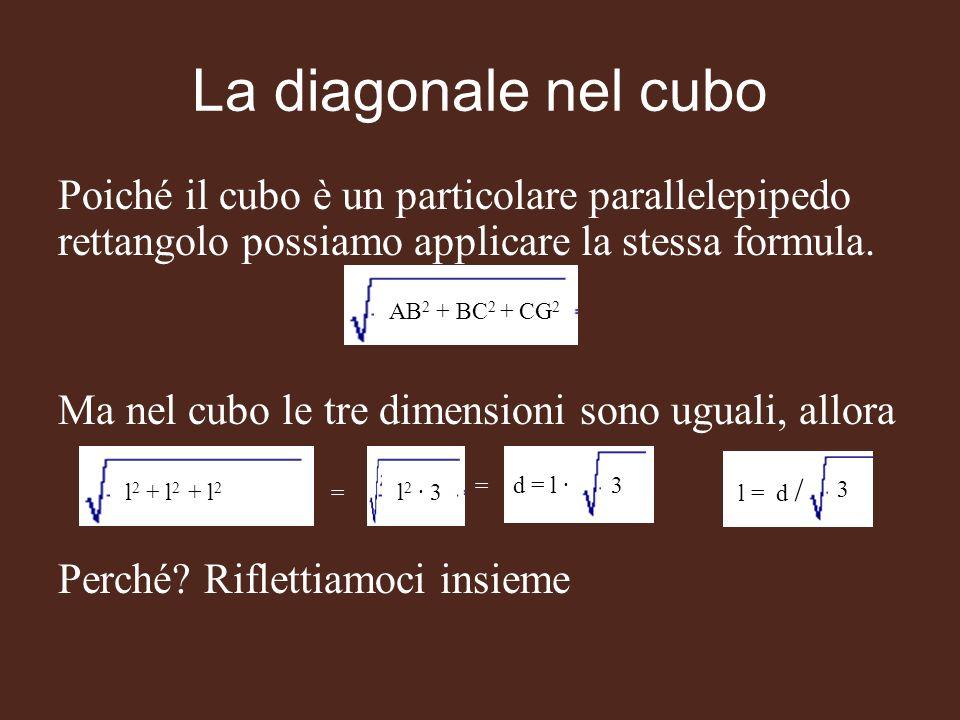 Poiché il cubo è un particolare parallelepipedo rettangolo possiamo applicare la stessa formula. Ma nel cubo le tre dimensioni sono uguali, allora Per