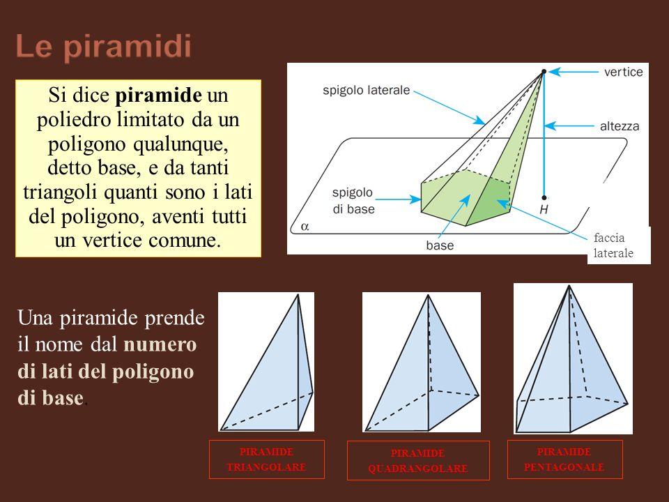 Si dice piramide un poliedro limitato da un poligono qualunque, detto base, e da tanti triangoli quanti sono i lati del poligono, aventi tutti un vert