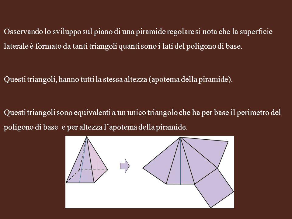 Osservando lo sviluppo sul piano di una piramide regolare si nota che la superficie laterale è formato da tanti triangoli quanti sono i lati del polig