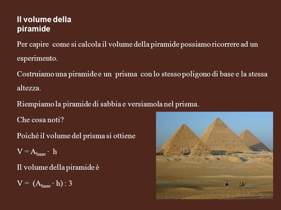 Il volume della piramide Per capire come si calcola il volume della piramide possiamo ricorrere ad un esperimento. Costruiamo una piramide e un prisma