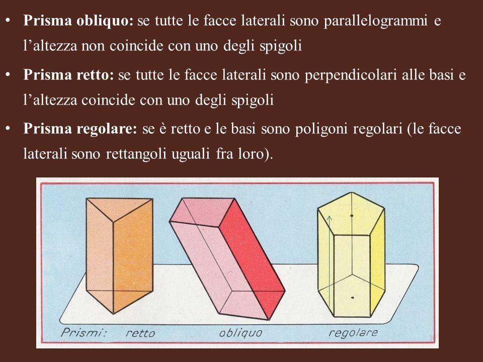 Prisma obliquo: se tutte le facce laterali sono parallelogrammi e laltezza non coincide con uno degli spigoli Prisma retto: se tutte le facce laterali