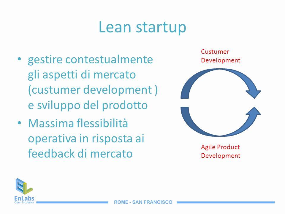 Lean startup gestire contestualmente gli aspetti di mercato (custumer development ) e sviluppo del prodotto Massima flessibilità operativa in risposta