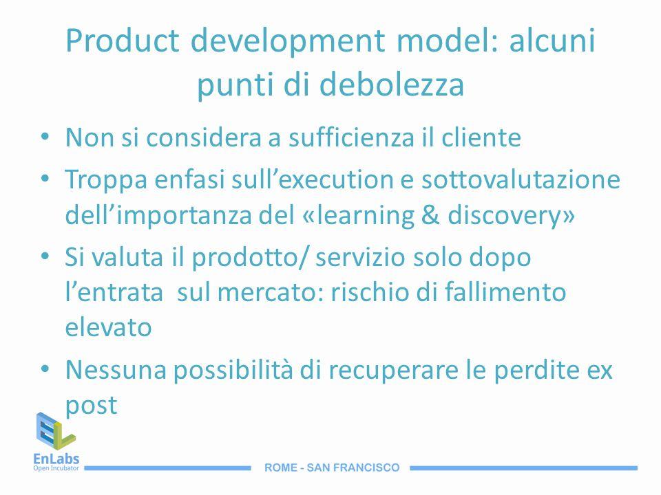 Product development model: alcuni punti di debolezza Non si considera a sufficienza il cliente Troppa enfasi sullexecution e sottovalutazione dellimpo