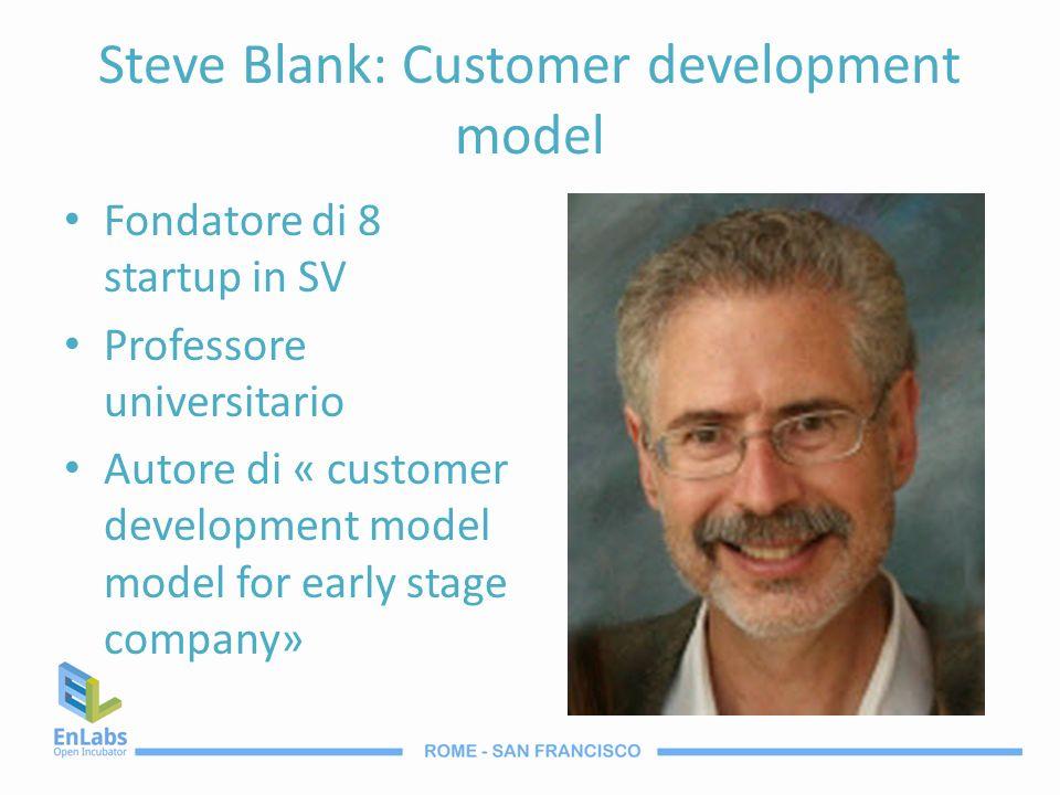 Steve Blank: Customer development model Fondatore di 8 startup in SV Professore universitario Autore di « customer development model model for early s