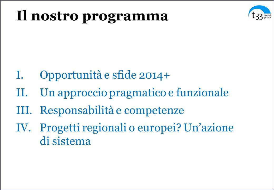 Il nostro programma I.Opportunità e sfide 2014+ II.Un approccio pragmatico e funzionale III.Responsabilità e competenze IV.Progetti regionali o europei.