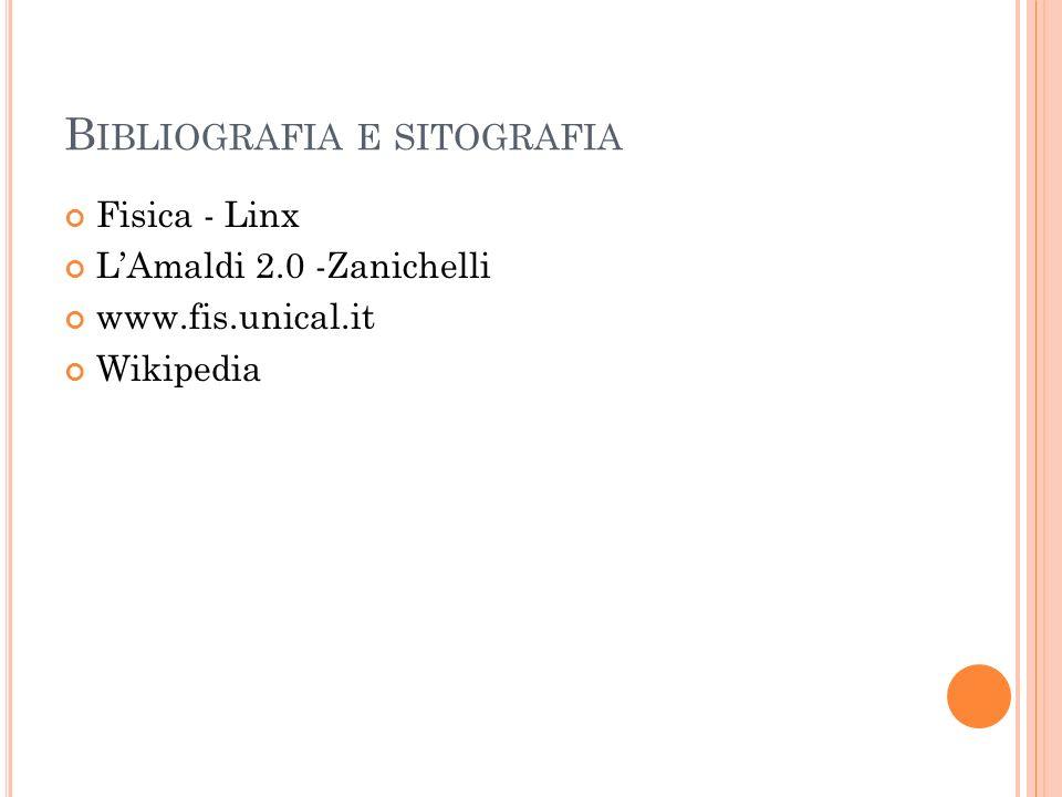 B IBLIOGRAFIA E SITOGRAFIA Fisica - Linx LAmaldi 2.0 -Zanichelli www.fis.unical.it Wikipedia