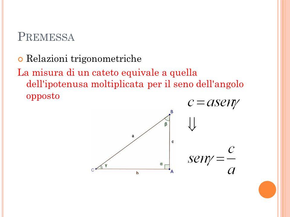 P REMESSA Relazioni trigonometriche La misura di un cateto equivale a quella dell'ipotenusa moltiplicata per il seno dell'angolo opposto