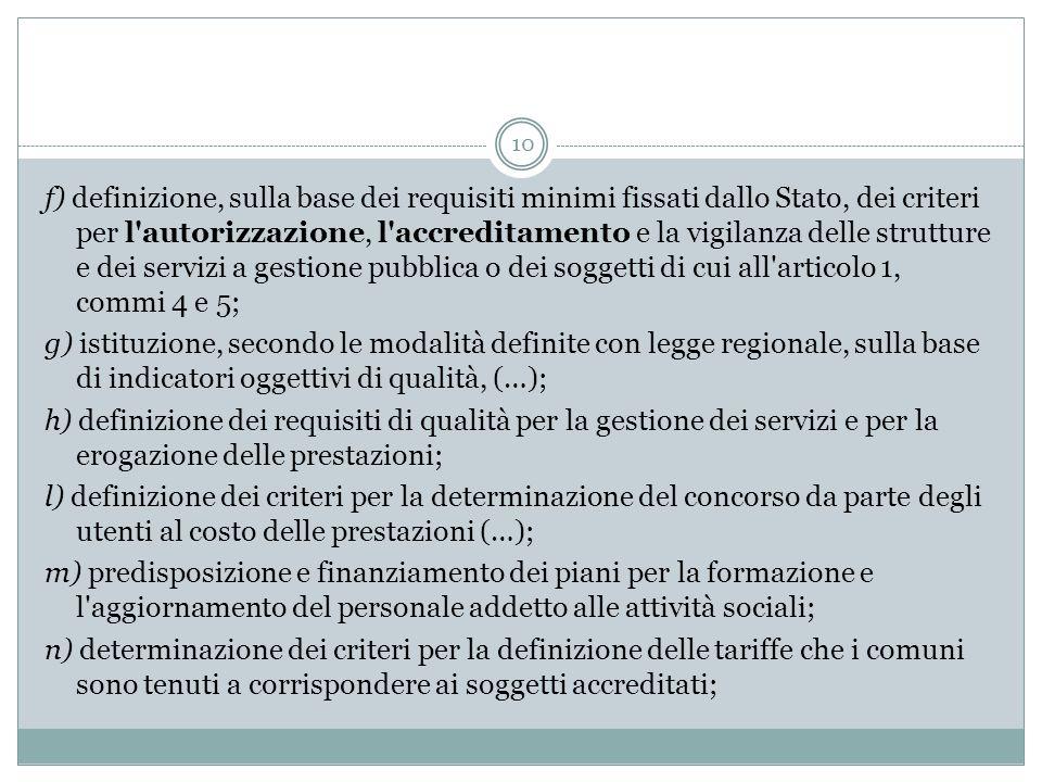 10 f) definizione, sulla base dei requisiti minimi fissati dallo Stato, dei criteri per l'autorizzazione, l'accreditamento e la vigilanza delle strutt