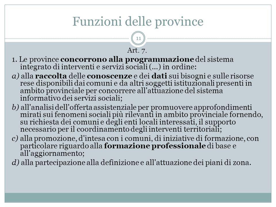 Funzioni delle province 11 Art. 7. 1. Le province concorrono alla programmazione del sistema integrato di interventi e servizi sociali (…) in ordine: