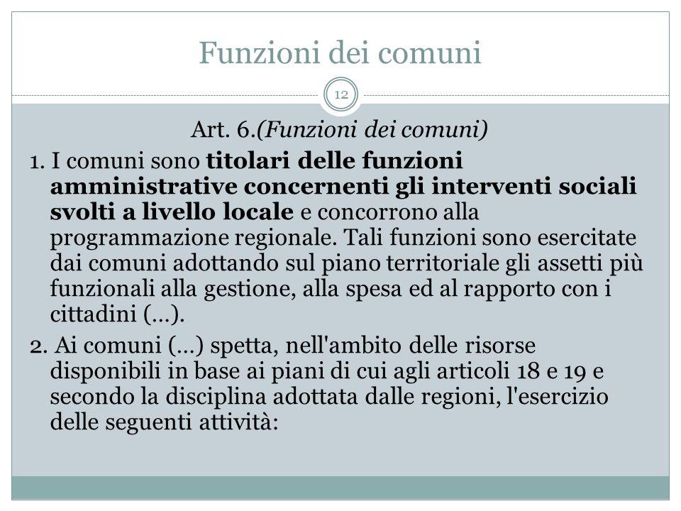 Funzioni dei comuni 12 Art. 6.(Funzioni dei comuni) 1. I comuni sono titolari delle funzioni amministrative concernenti gli interventi sociali svolti