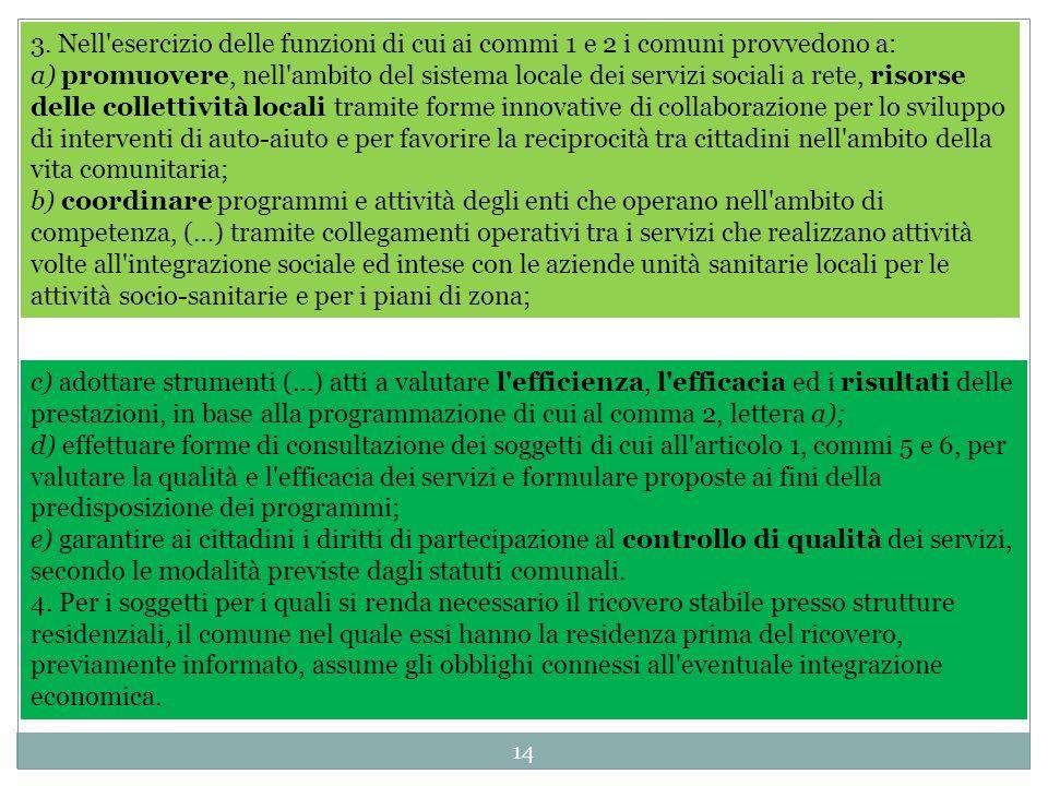 14 3. Nell'esercizio delle funzioni di cui ai commi 1 e 2 i comuni provvedono a: a) promuovere, nell'ambito del sistema locale dei servizi sociali a r
