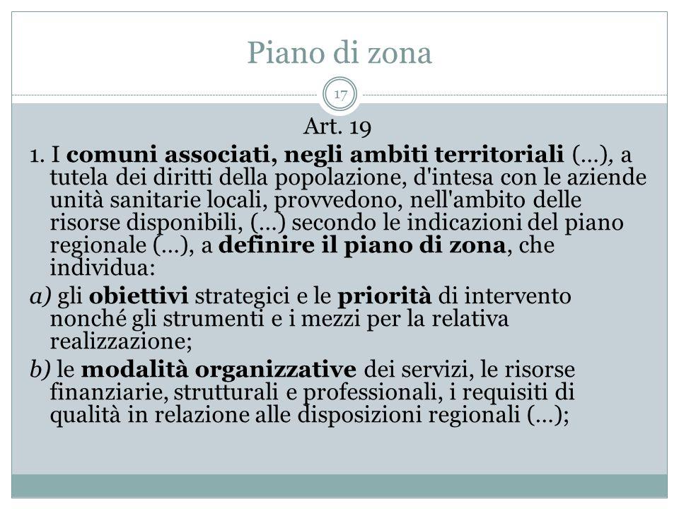 Piano di zona 17 Art. 19 1. I comuni associati, negli ambiti territoriali (…), a tutela dei diritti della popolazione, d'intesa con le aziende unità s