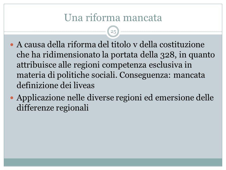 Una riforma mancata 25 A causa della riforma del titolo v della costituzione che ha ridimensionato la portata della 328, in quanto attribuisce alle regioni competenza esclusiva in materia di politiche sociali.