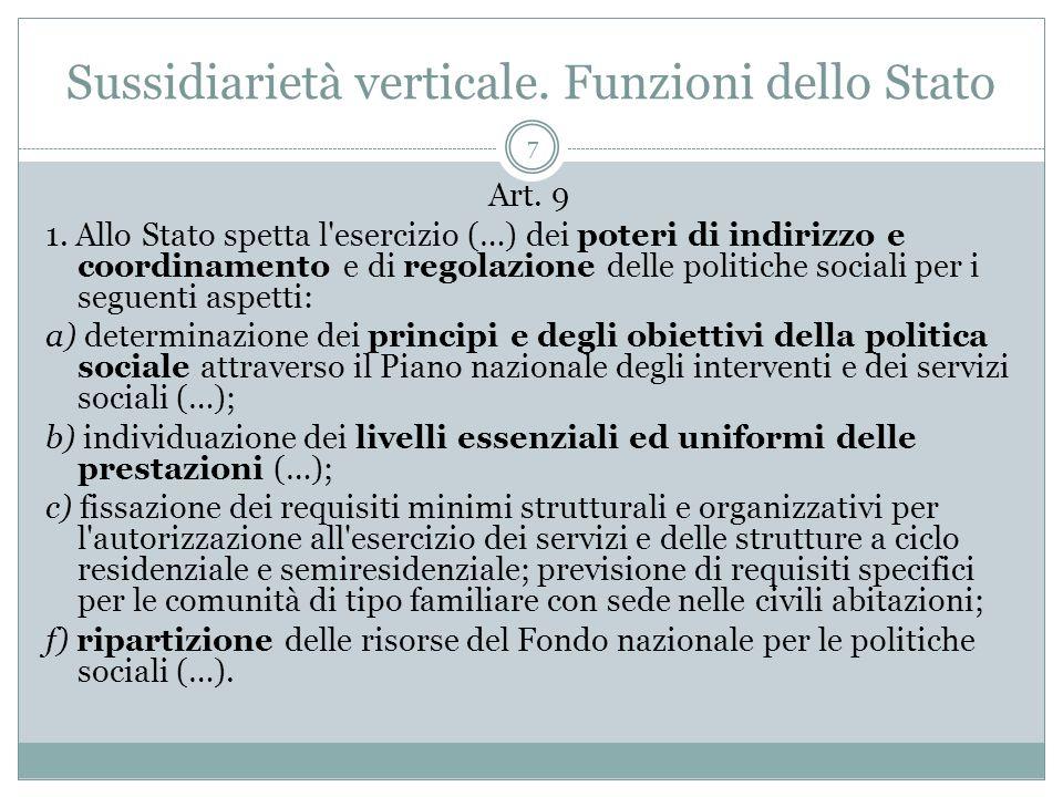 Sussidiarietà verticale. Funzioni dello Stato 7 Art. 9 1. Allo Stato spetta l'esercizio (…) dei poteri di indirizzo e coordinamento e di regolazione d