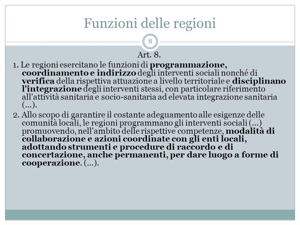 Funzioni delle regioni 8 Art. 8. 1. Le regioni esercitano le funzioni di programmazione, coordinamento e indirizzo degli interventi sociali nonché di