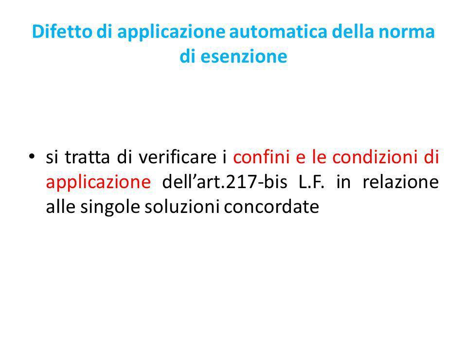 Difetto di applicazione automatica della norma di esenzione si tratta di verificare i confini e le condizioni di applicazione dellart.217-bis L.F.