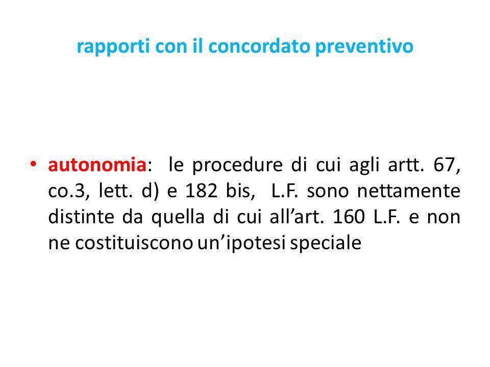rapporti con il concordato preventivo autonomia: le procedure di cui agli artt.