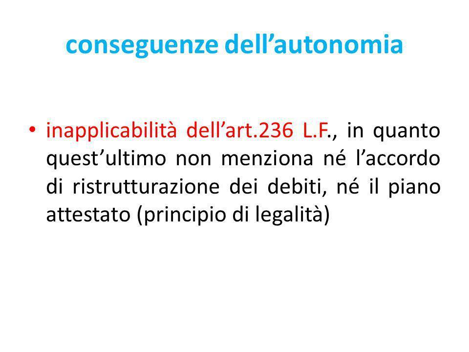 conseguenze dellautonomia inapplicabilità dellart.236 L.F., in quanto questultimo non menziona né laccordo di ristrutturazione dei debiti, né il piano attestato (principio di legalità)