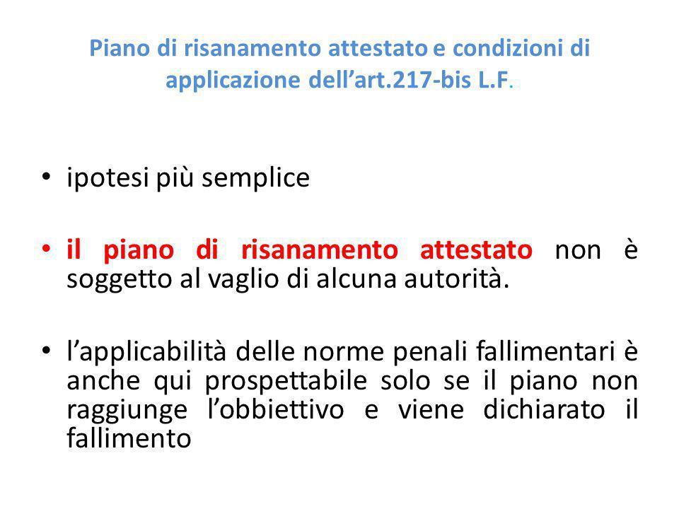 Piano di risanamento attestato e condizioni di applicazione dellart.217-bis L.F.