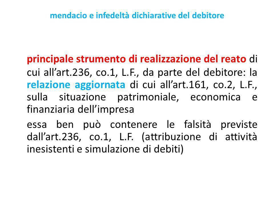 mendacio e infedeltà dichiarative del debitore principale strumento di realizzazione del reato di cui allart.236, co.1, L.F., da parte del debitore: la relazione aggiornata di cui allart.161, co.2, L.F., sulla situazione patrimoniale, economica e finanziaria dellimpresa essa ben può contenere le falsità previste dallart.236, co.1, L.F.